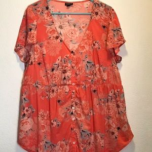 Torrid coral and peach button up top size 0